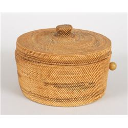 """Nuu-chah-nulth Knob Top Sewing Basket with Eagle and Whale Design 6 1/2"""" D. 4"""" H.  Good Condition"""