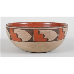 """Zia Pottery Bowl with Mountain and Feather Design ca. 1960's -1980's - Artist Unknown 9"""" D. 4"""" H.  G"""