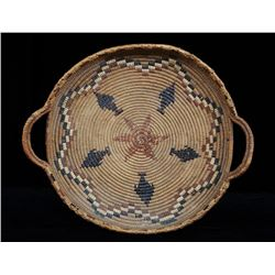 """Lillooet Handled Tray Decorated with Imbricated Arrow Design 18"""" W.  Fair Condition"""