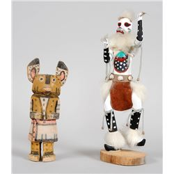 """Hopi Cottonwood Kachina 7 1/2"""" H. and a Wolf Kachina 11"""" H.  Both in Fair Condition"""
