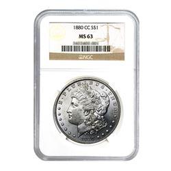 1880-CC $1 Morgan Silver Dollar - NGC MS63