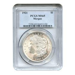1921 $1 Morgan Silver Dollar - PCGS MS65