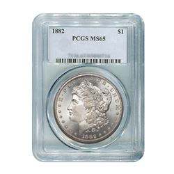 1882 $1 Morgan Silver Dollar - PCGS MS65
