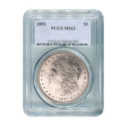 1891 $1 Morgan Silver Dollar - PCGS MS63