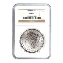 1884-CC $1 Morgan Silver Dollar - NGC MS64