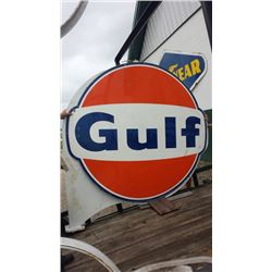 6ft Gulf Original Cast Ring and Pole (2) Signs