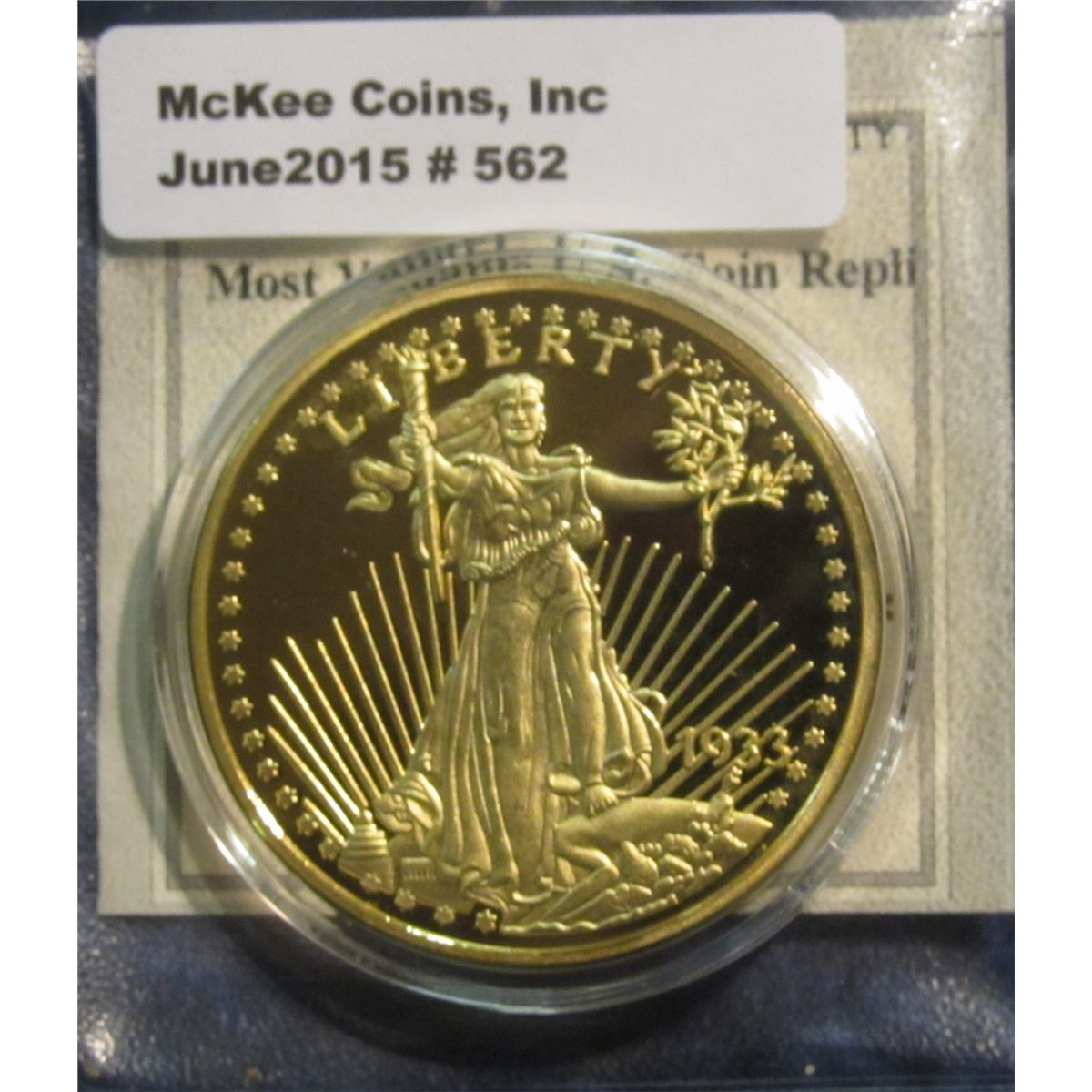 562  1933 U S  $20 St  Gaudens most valuable U S  Coin replica by the  American Mint  No  A 04718  En