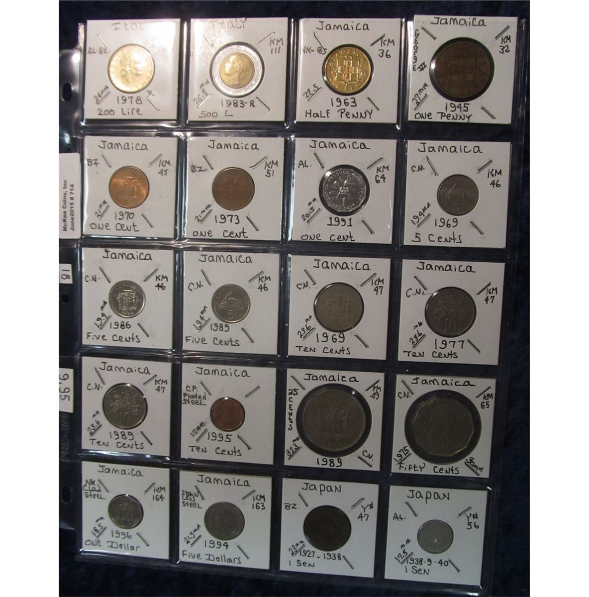 714  World Coins, 20 in page, all identified and from Italy, Jamaica, &  Japan  KM value $9 95
