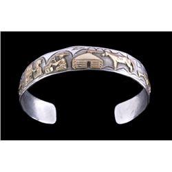 Navajo Story Teller 12K Gold & Sterling Bracelet