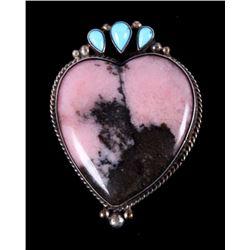 Navajo Rhodochrosite Sterling Heart Brooch Dee Nez