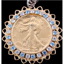 Liberty Silver Half Dollar 1943 Gold Gem Necklace