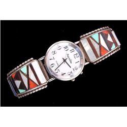 Zuni Inlaid Mosaic Sterling Watch Band & Watch