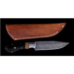 CFK Damascus & Buffalo Horn Knife Vine File Work