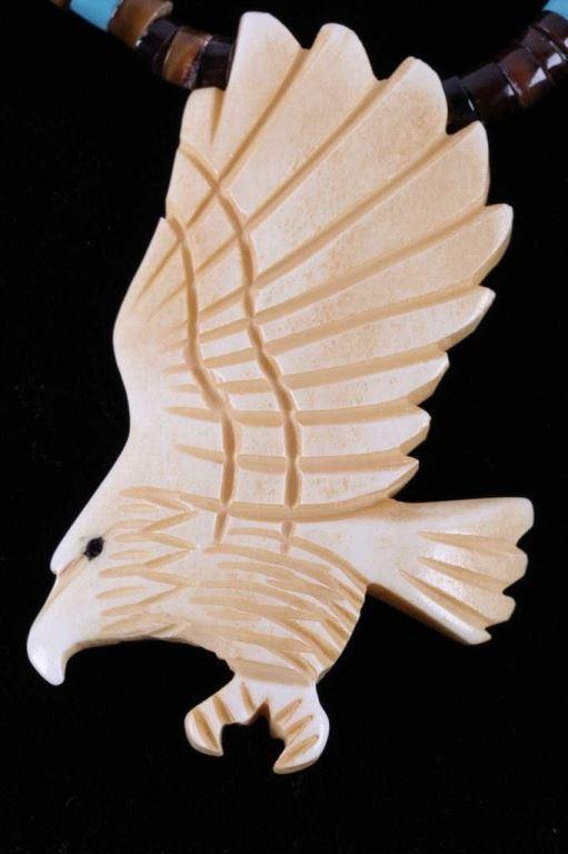 Plains Indian Bone Carved Eagle Necklace