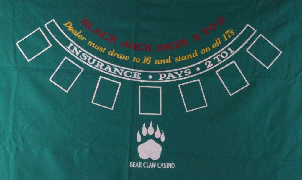 ... Image 2  Bear Claw Casino Blackjack Table Cover ...  sc 1 st  iCollector.com & Bear Claw Casino Blackjack Table Cover
