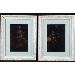 2 Clowns By Candlelight Dark Art Prints -Framed