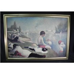 Seurat  Bathing At Asnieres  Framed Digital Repro.