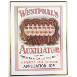 Vintage 10¢ Westphal's Hair Advertising Poster Frame Ad