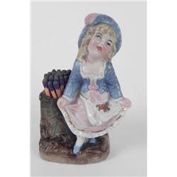 German Porcelain Match Holder Little Girl 1860-