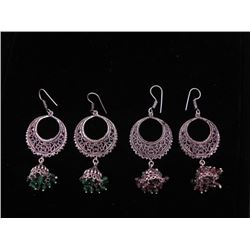 2 Pairs Sterling Earrings w/Dangling Beads Green,Purple