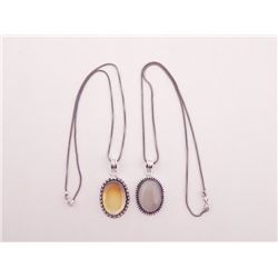 2 Sterling Pendants Citrine, Hematite Necklaces