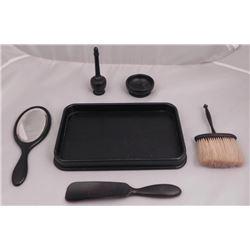 Vintage Ebony Vanity Set w/Mirror, Brush, Tray, Perfume