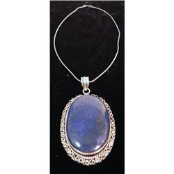 Lapis Pendant with Chain German Silver