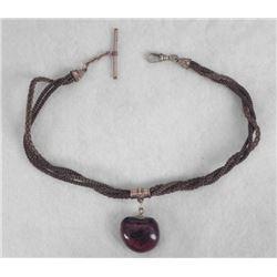 Victorian Era Hair Jewelry Chain Necklace w/Buckeye Fob