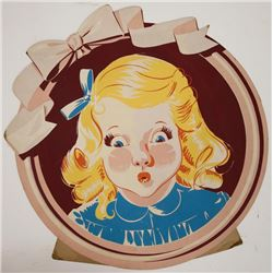 1920's Stand Up Advertising Sign Round Face Girl