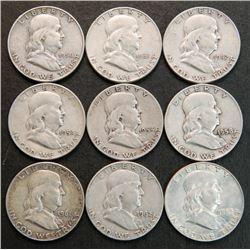 9 Different Date Franklin Silver Half Dollars 1950-1963