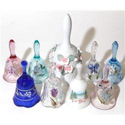 9 Vintage Signed Hand Painted Glass Bells Fenton Flower