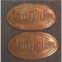 2 1934 Chicago World's Fair Elongated Penny Cent