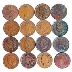 Lot of 16 Indian Head Cents Mixed Grade Penny .01¢