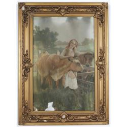 1890's Hand Colored Photograph Framed Women with Cows