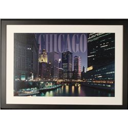 Chicago River Night Lights Photograph Framed