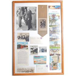 Framed WWII Collage Photos Postcards Letters Pictures