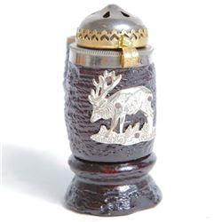 Antique Bruyere Garantie Wood & Metal Pipe Bowl Moose
