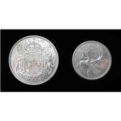Canada Silver 1954 Half and 1956 Quarter