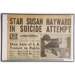 """Star Susan Hayward in Suicide Attempt"" Newspaper Front"