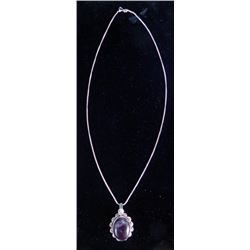 Amethyst Pendant Necklace with Chain German Silver