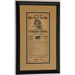 Antique Carpenter's Ox Marrow Pomade Ad Sign Black Hair