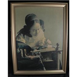 """Vermeer """"The Lacemaker"""" Framed Reproduction on Board"""