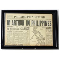 "Frmd Orig Newspaper ""M'Arthur in Philippines"" Oct 1944"
