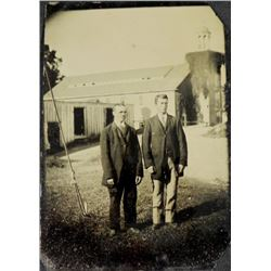 Antique Tintype Photograph 2 Men Outdoor Portrait Rare