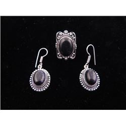 Blue Sunstone 3 Pc Sterling German Ring & Earrings Set