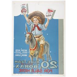 20 Mule Team Borax Vintage Advertising Poster on Board