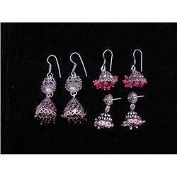 3 Pr Sterling Earrings Dangling Beads Red,Black, Silver