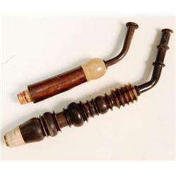 2 Antique MEERSCHAUM Wooden Tobacco Pipe Stems