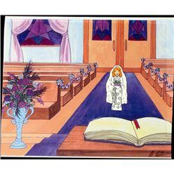 Original Animation Cel Bride Walking Down Aisle