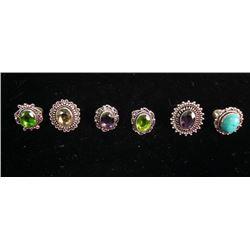 6 Assorted German Silver Rings
